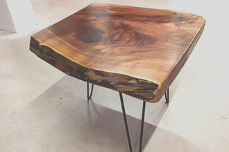live edge side table w bowties colored epoxy