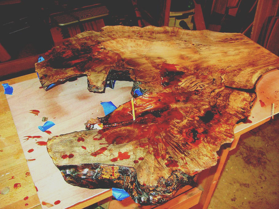 the challenge of finishing a wood slab