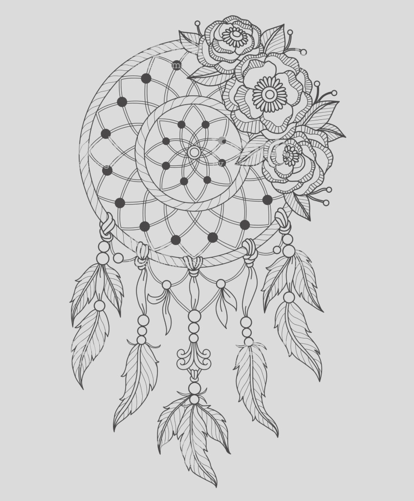 hand drawn dreamcatcher for adult coloring page gm