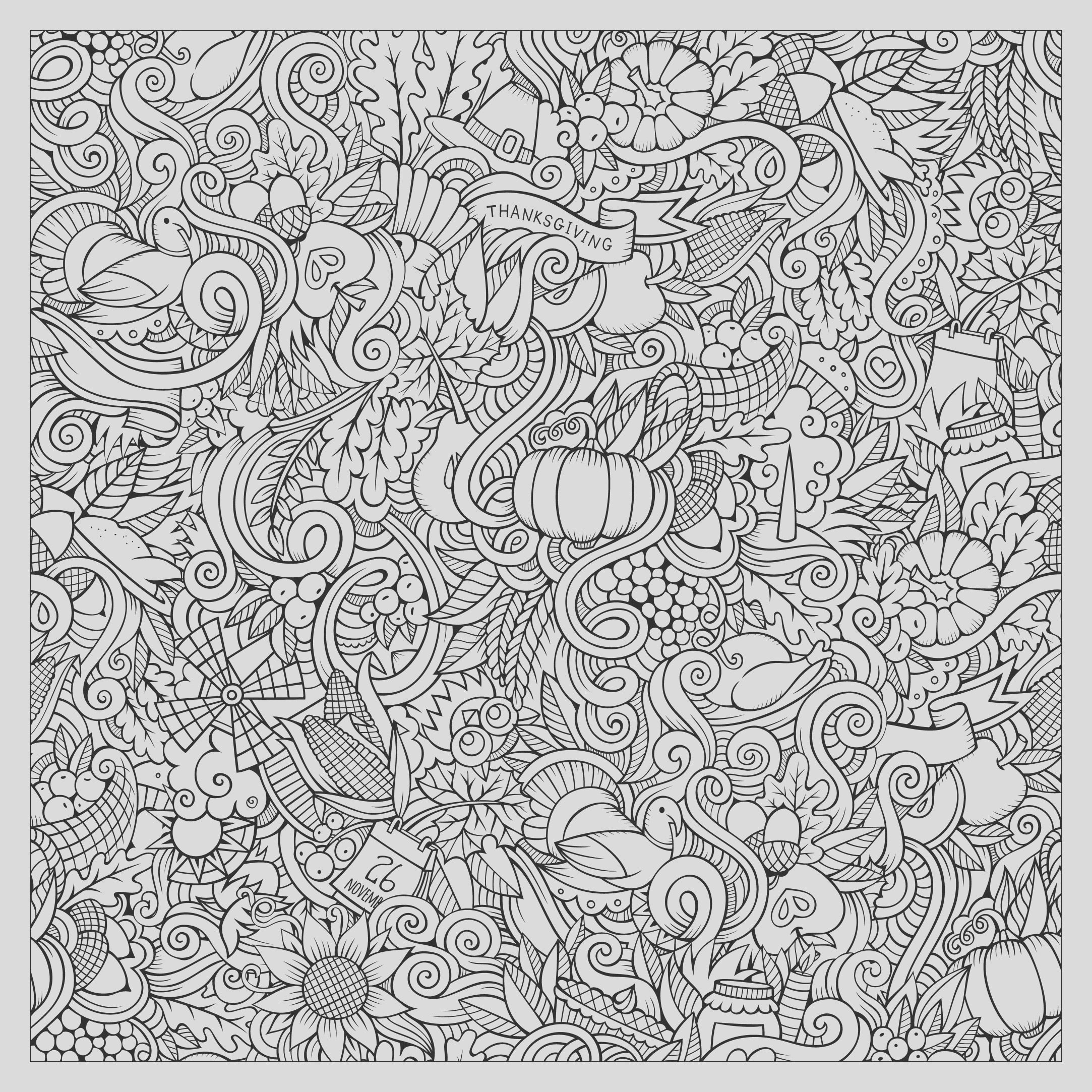 image=events thanksgiving coloring adult thanksgiving square doodle by Olga Kostenko 1