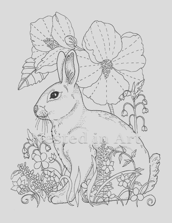 adult coloring page bunny and hibiscus