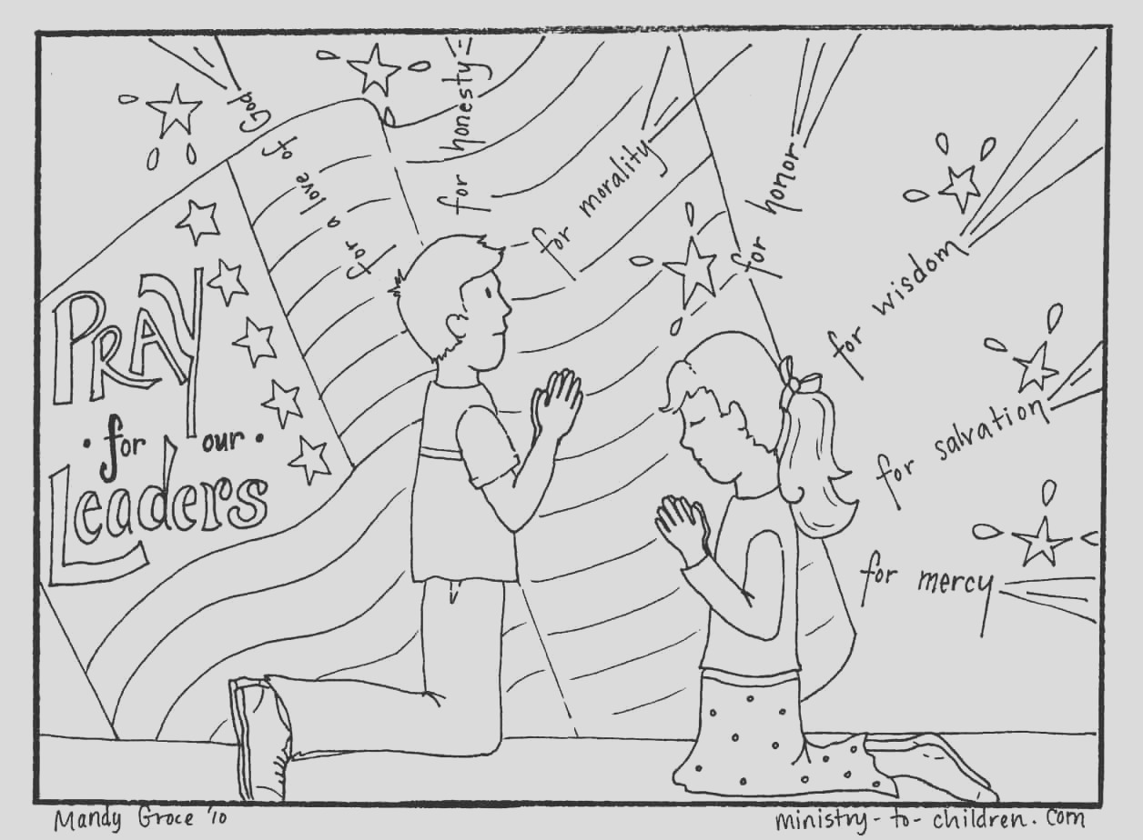 prayer for our leaders coloring page