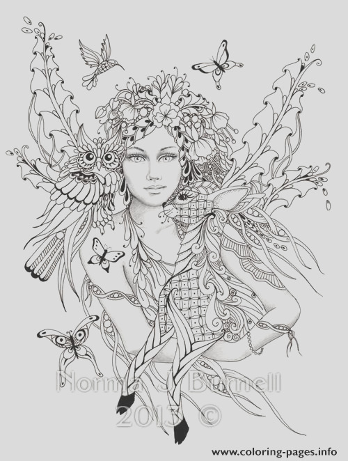difficult fairies with bird nature flowers printable coloring pages book