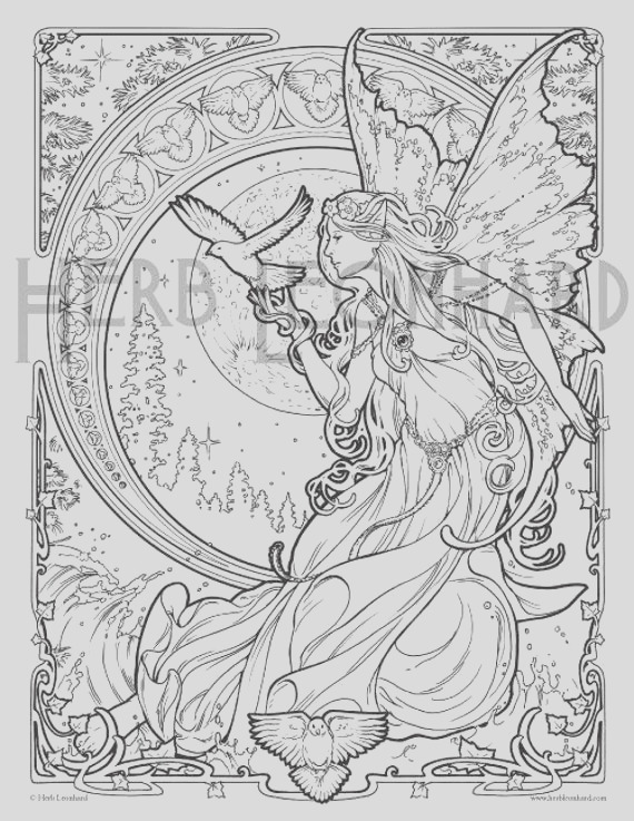 herb leonhard adult coloring page faerie