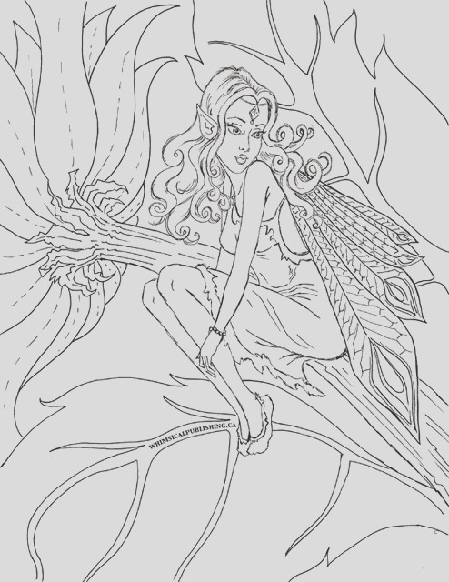 fairy colouring page new free