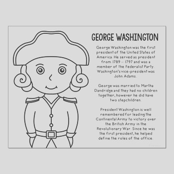 President George Washington Coloring Page Craft or Poster with Mini Biography