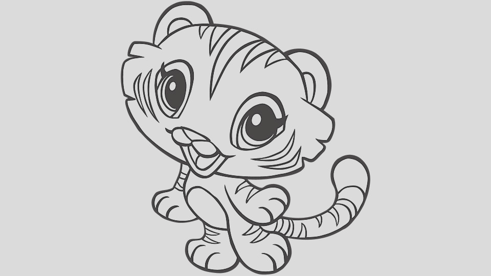 baby animal coloring pages tiger
