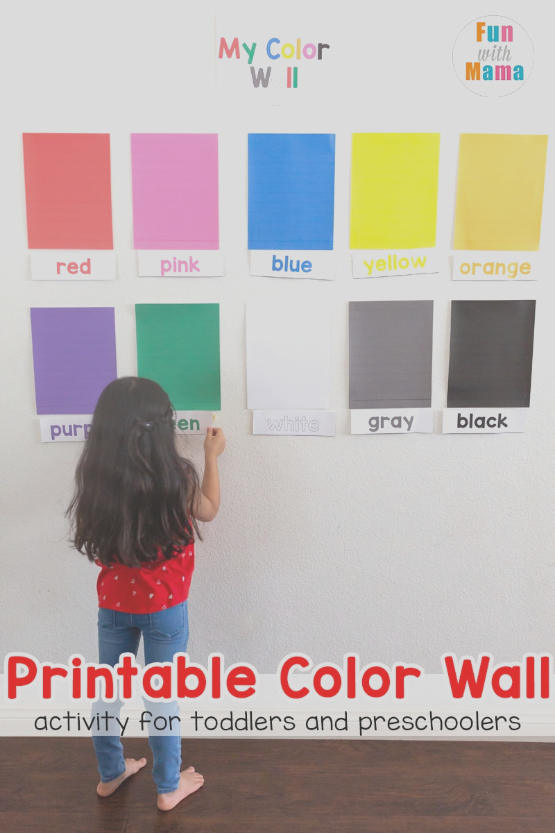 learn colors wall printable activity for toddlers and preschoolers