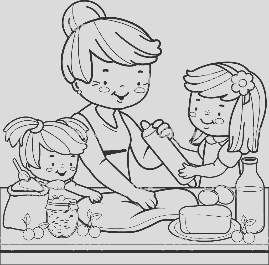 grandmother and children cooking in the kitchen coloring book page gm