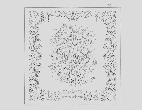 calm your tits swear words coloring page