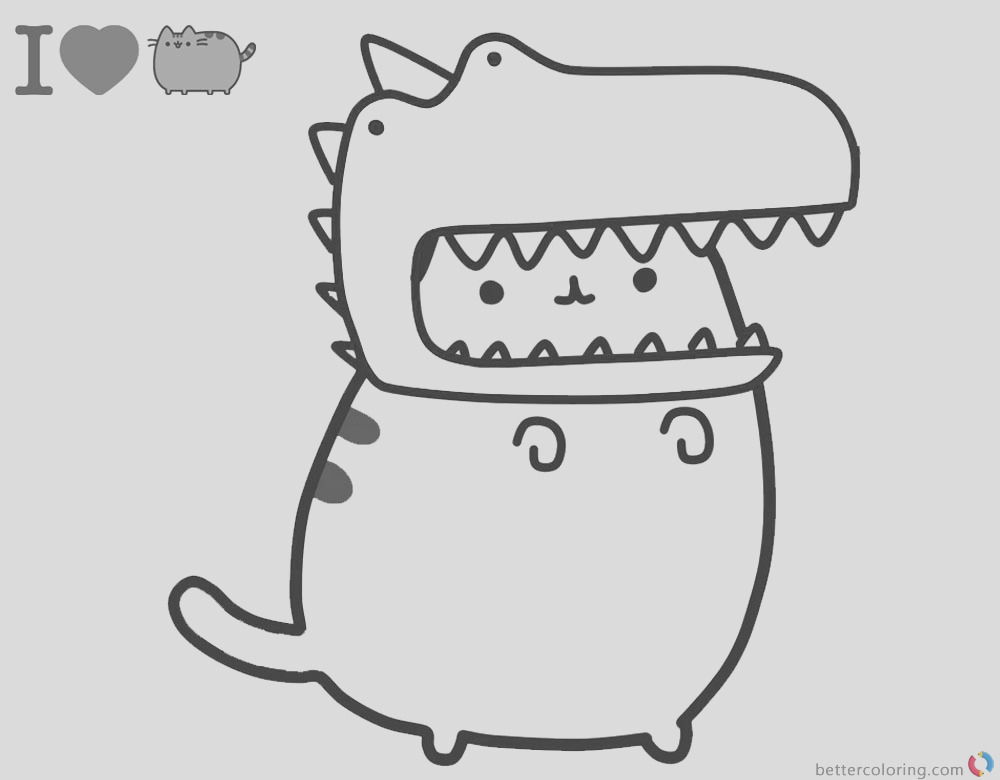 pusheen coloring pages cute dinosaur hat