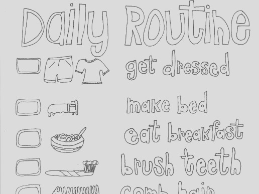 daily routine colouring page