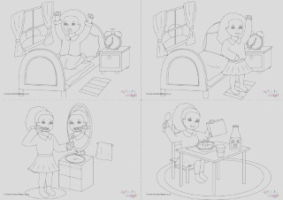daily routines colouring pages