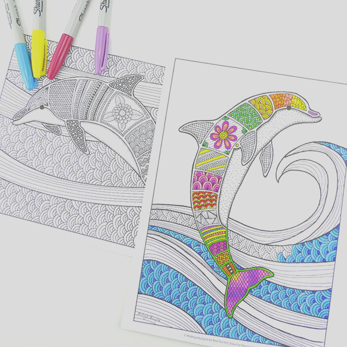 free colouring pages for grown ups dolphins