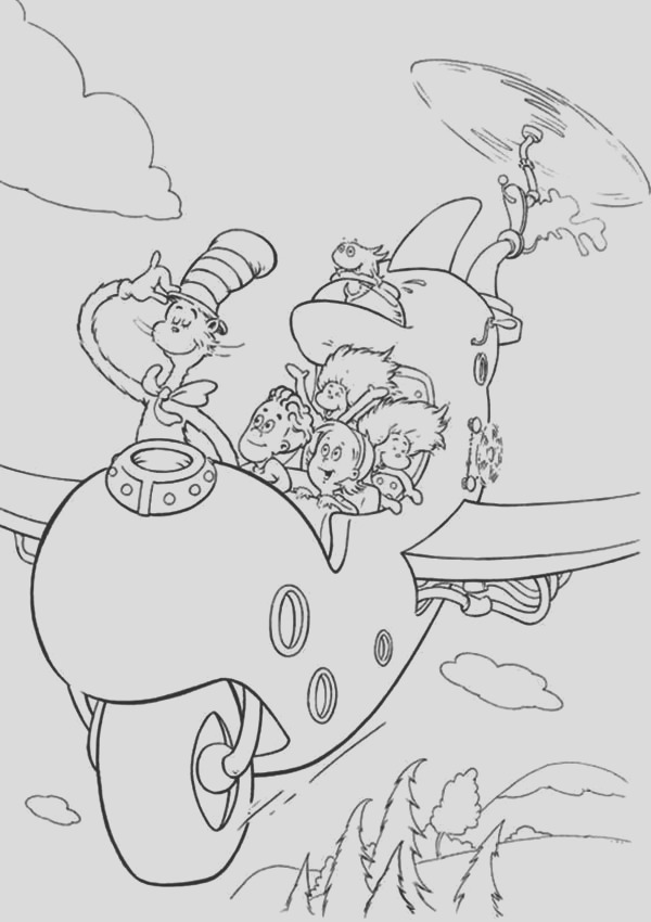 dr seuss the cat in the hat flying with wierd airplane coloring page