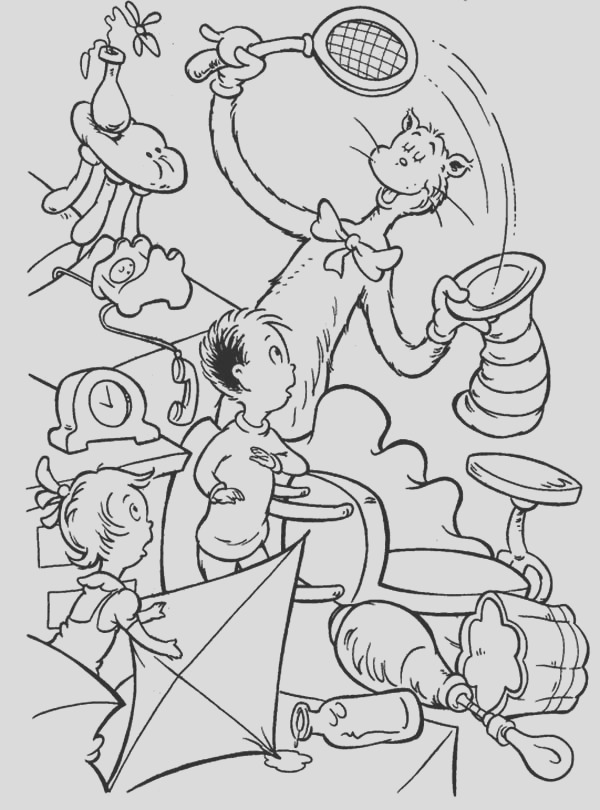 coloring pages cat in the hat