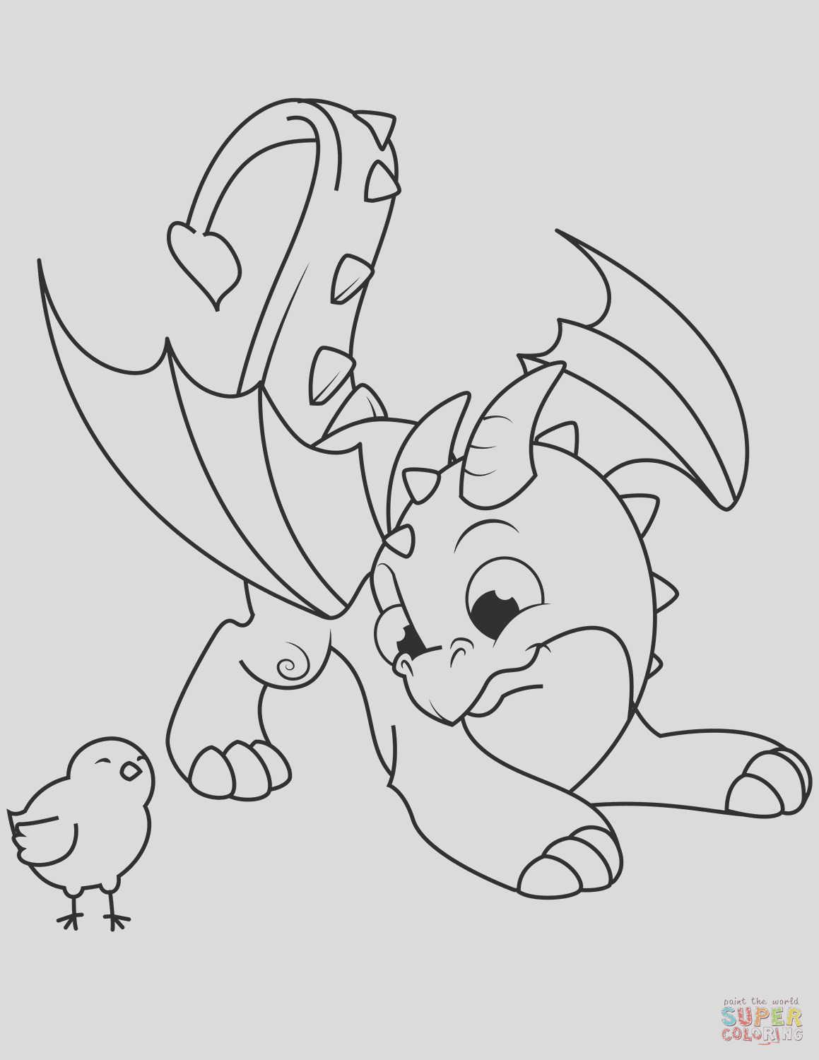 cute dragon and chick