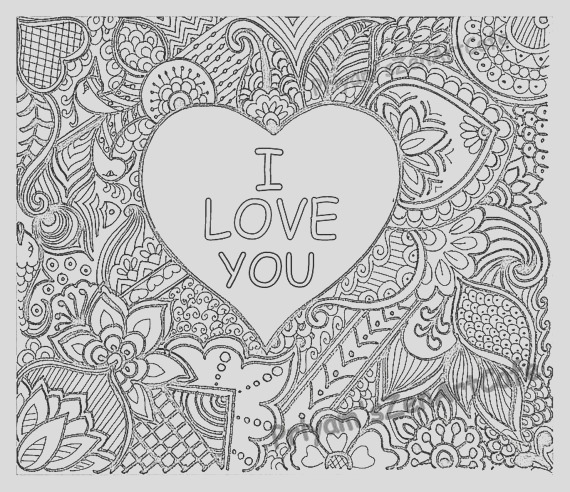easy coloring page romantic t i love