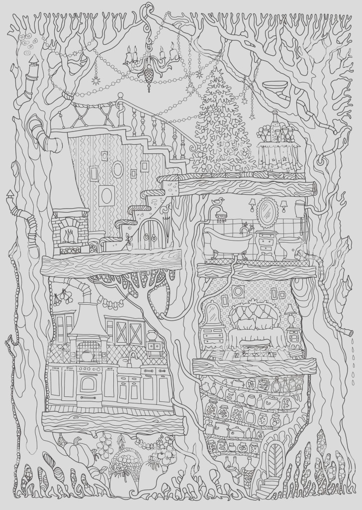 vector hand drawn fantasy old oak tree with fairy tale house black and white sketch gm