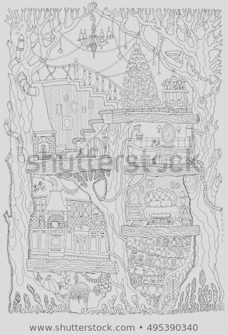 stock vector vector hand drawn fantasy old oak tree with fairy tale house black and white sketch tee shirt print adults and children coloring book page batik paint christmas greeting party invi