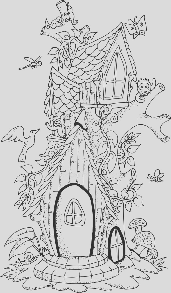 illustration of a fairy tree house hand drawn