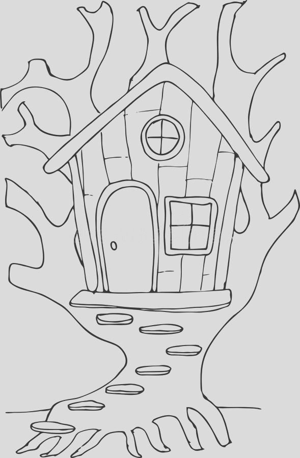 stock illustration doodle style fairy tree house cartoon can be used coloring book page design image