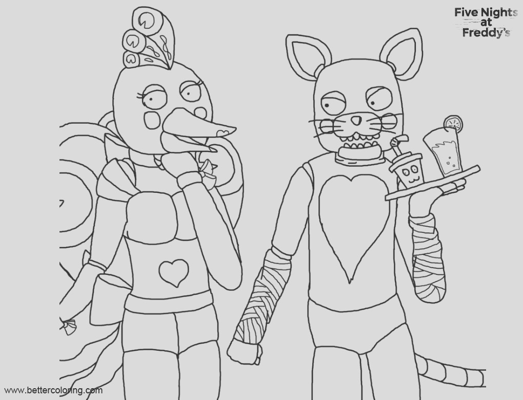 fnaf coloring pages animatronics toy by xzylax