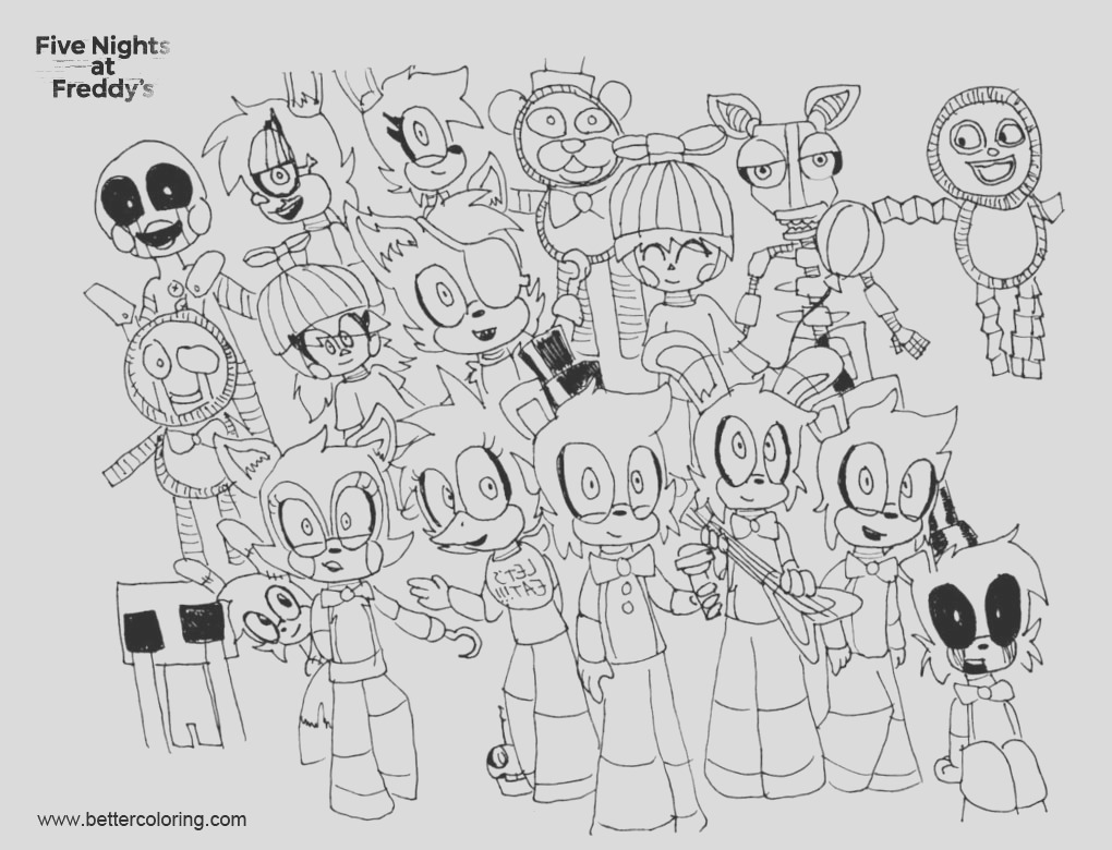 fnaf coloring pages characters line art
