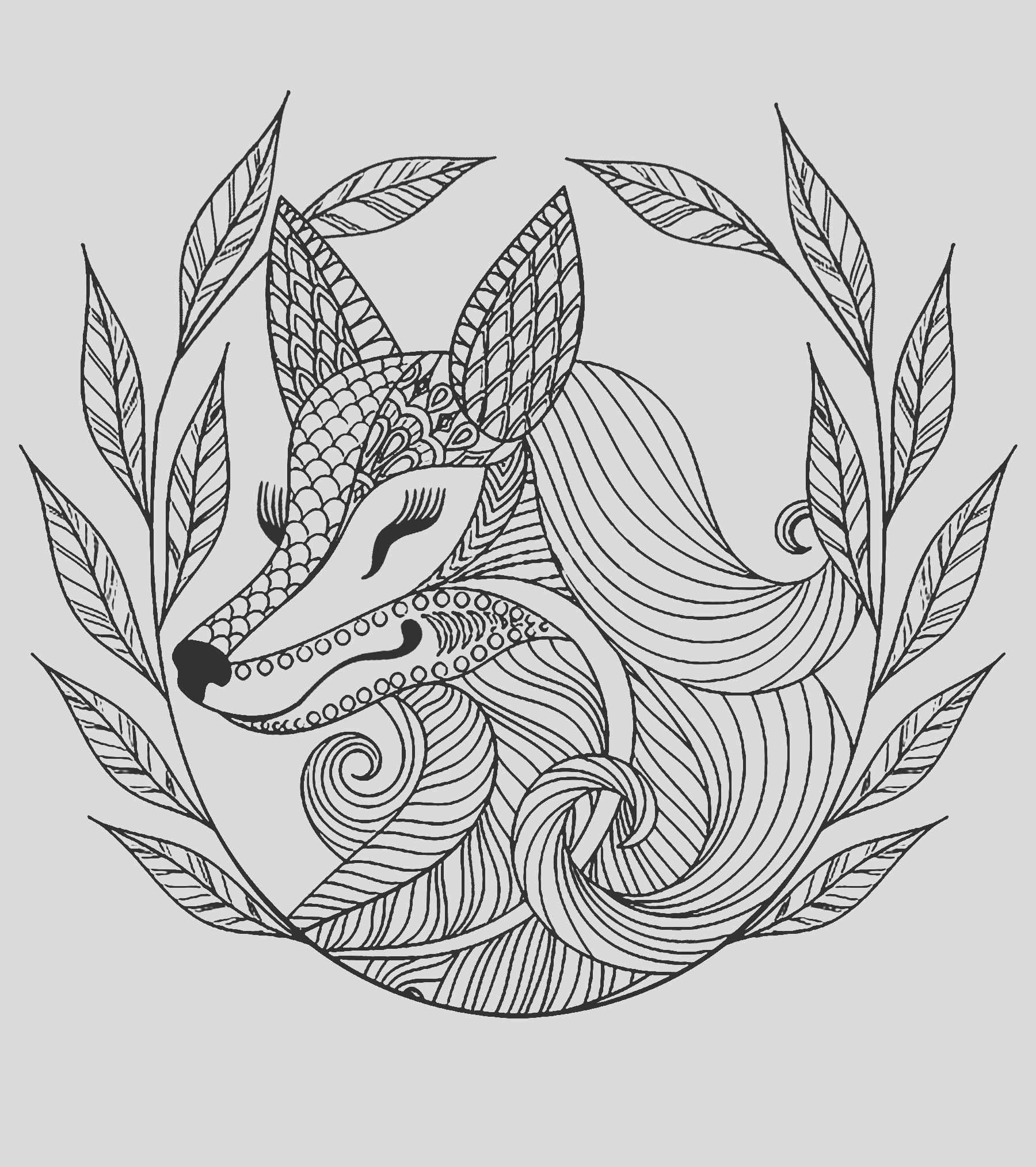 image=animals coloring page fox and leaves 1