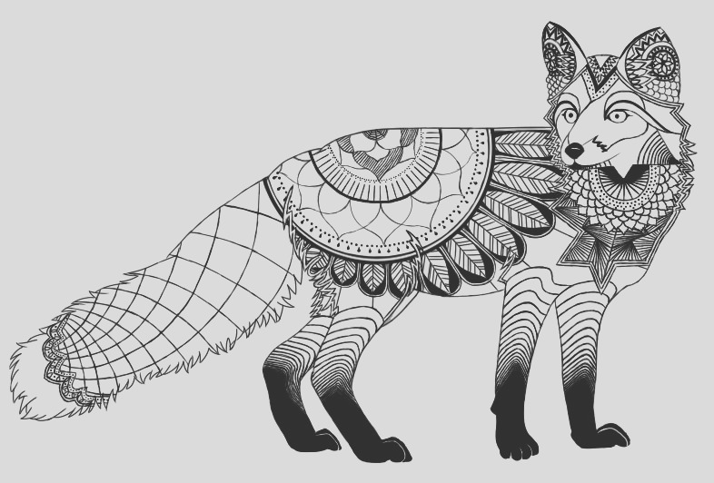 Mandala Fox Coloring Page