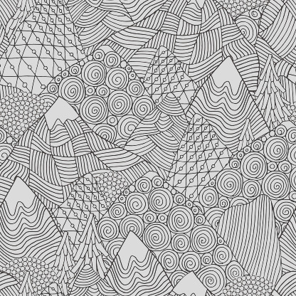 seamless pattern with mountains adult coloring book page gm