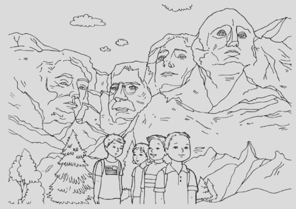 celebrating presidents day at mount rushmore coloring page