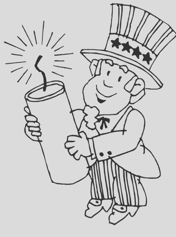 uncle sam holding a presidents day candle coloring page