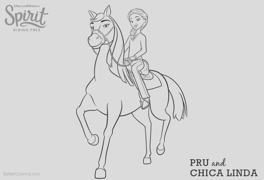 spirit riding free coloring pages pru and chica linda