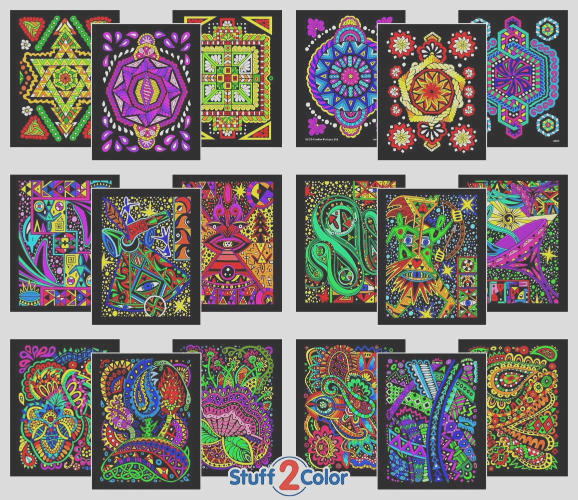 pack of fuzzy velvet coloring posters