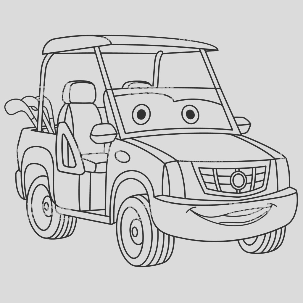 coloring page of cartoon golf cart gm