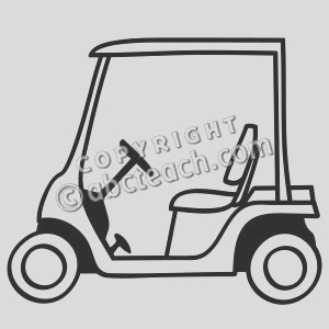 clip art golf cart coloring page