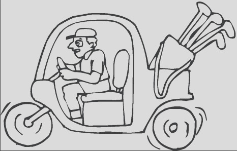 luxury golf cart colouring pages