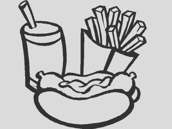eat hot dog and fries with soda coloring page