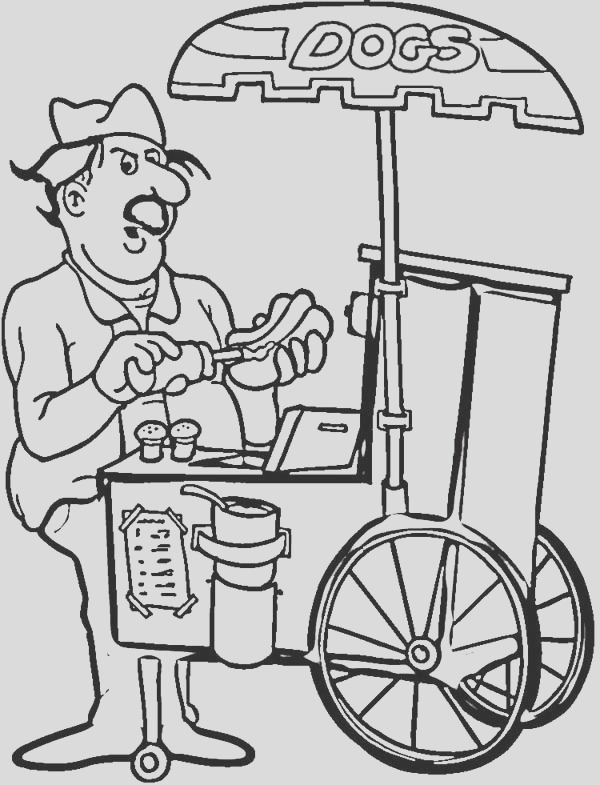 hot dog seller coloring page