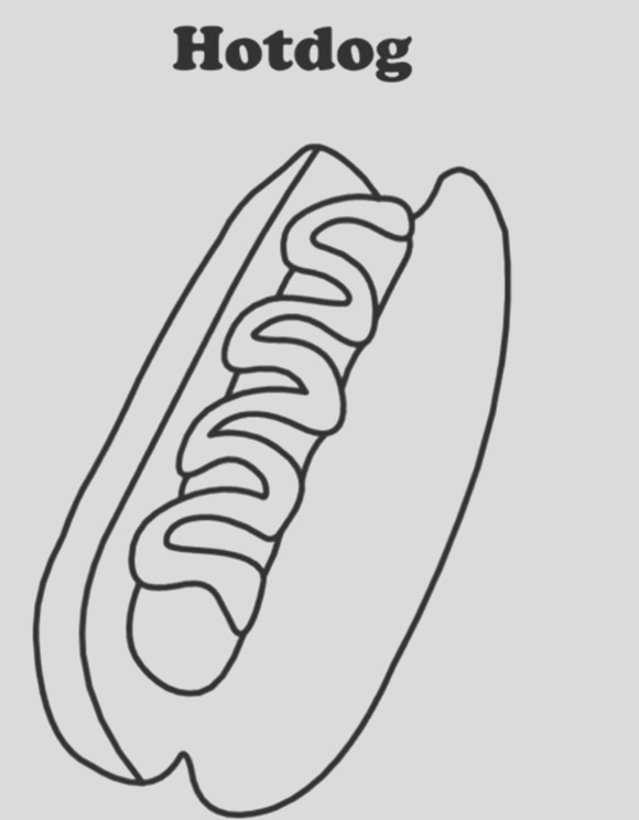 coloring picture of hamburgers with hot dog sketch templates