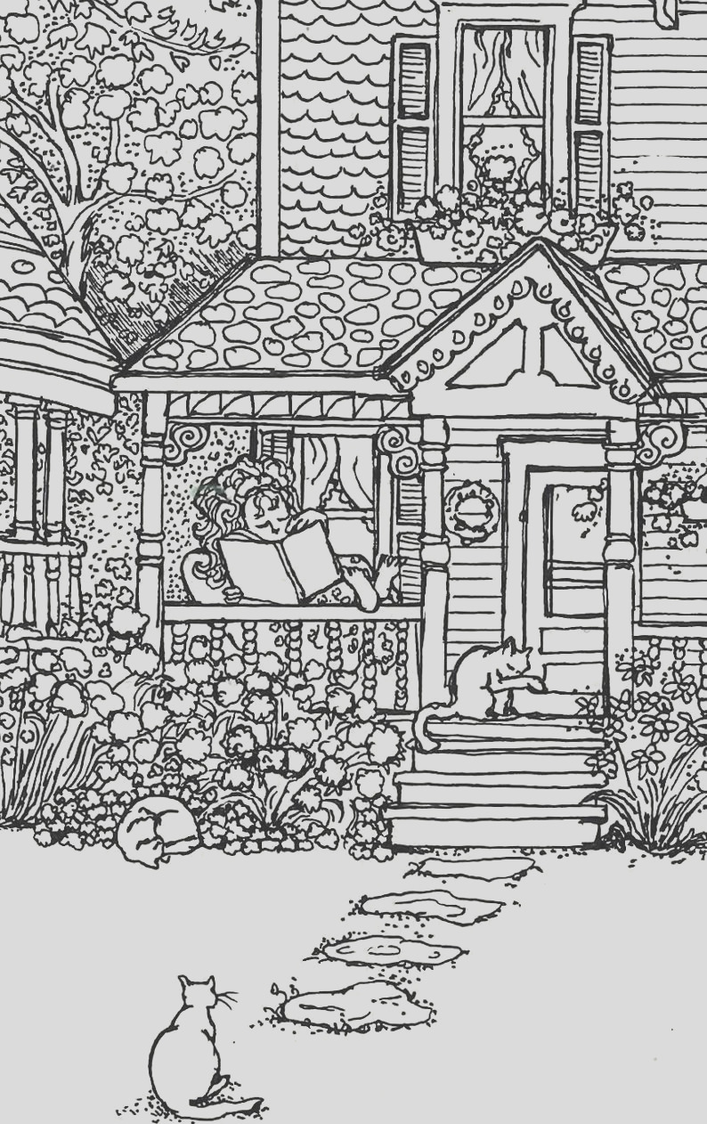 adult coloring page house of cats