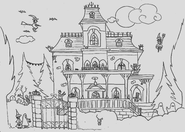 haunted house and satanic cat coloring page