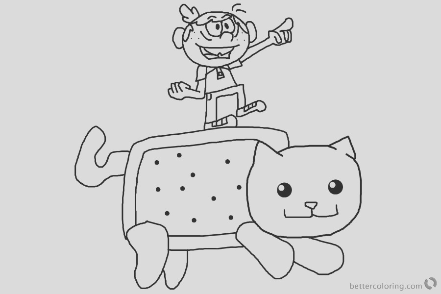 nyan cat coloring pages and loud house lincoln