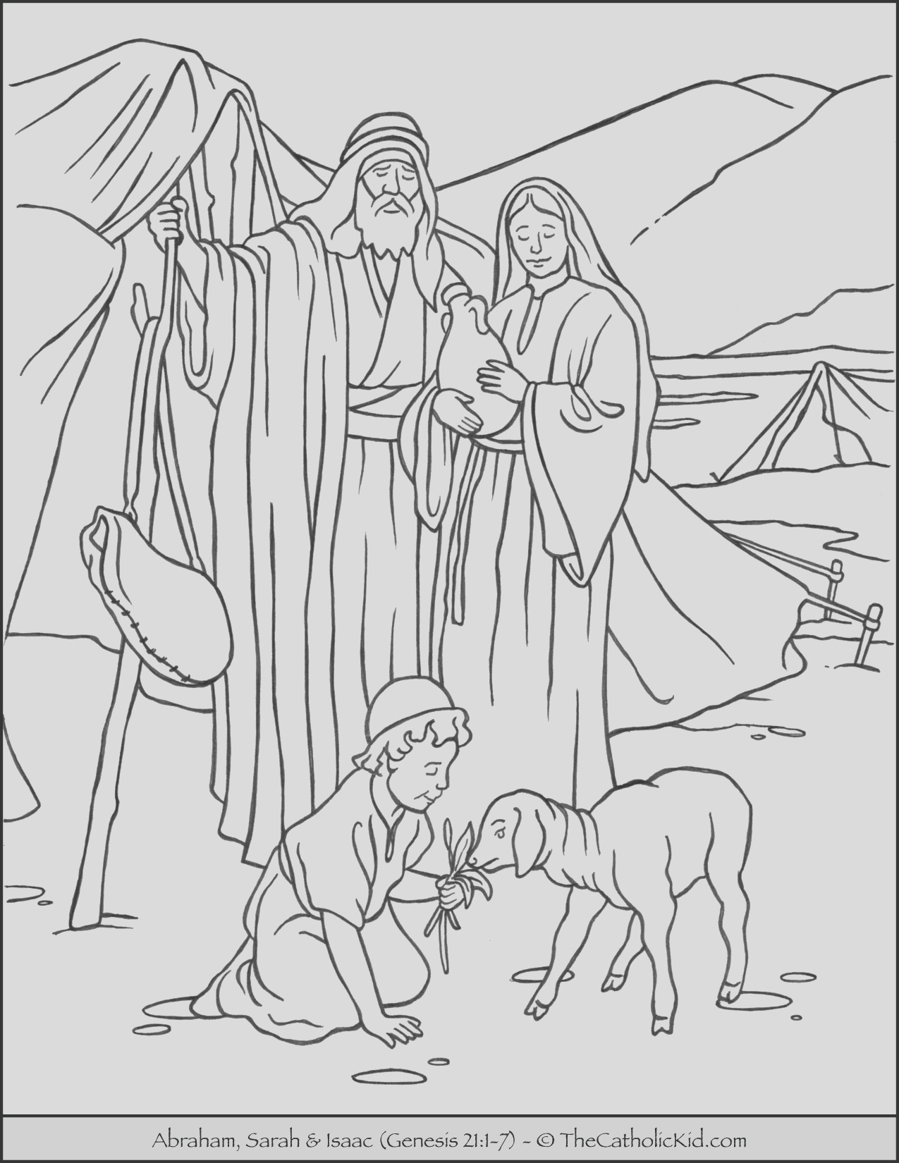 abraham sarah and isaac coloring page cnt mls