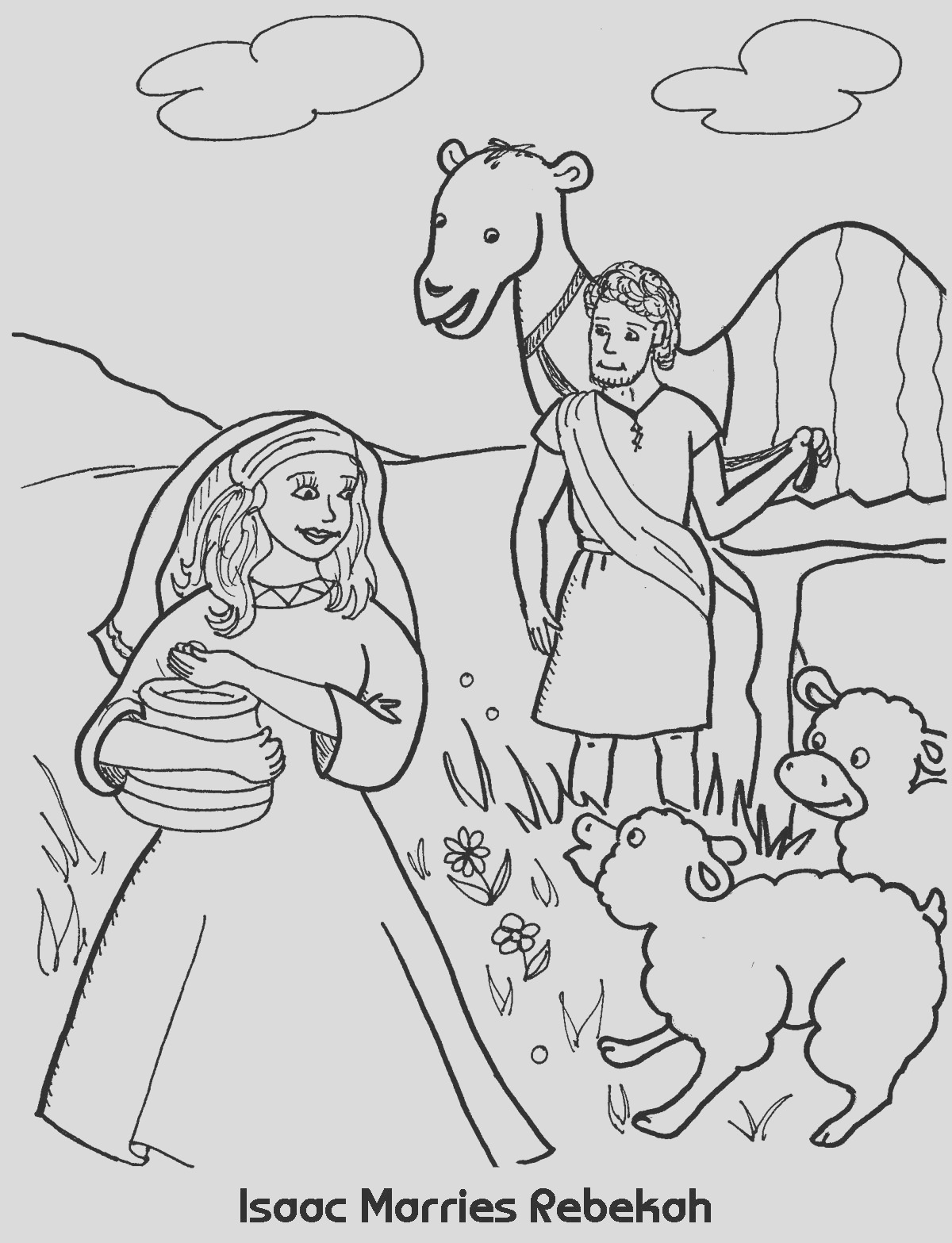 isaac marries rebekah coloring sheet