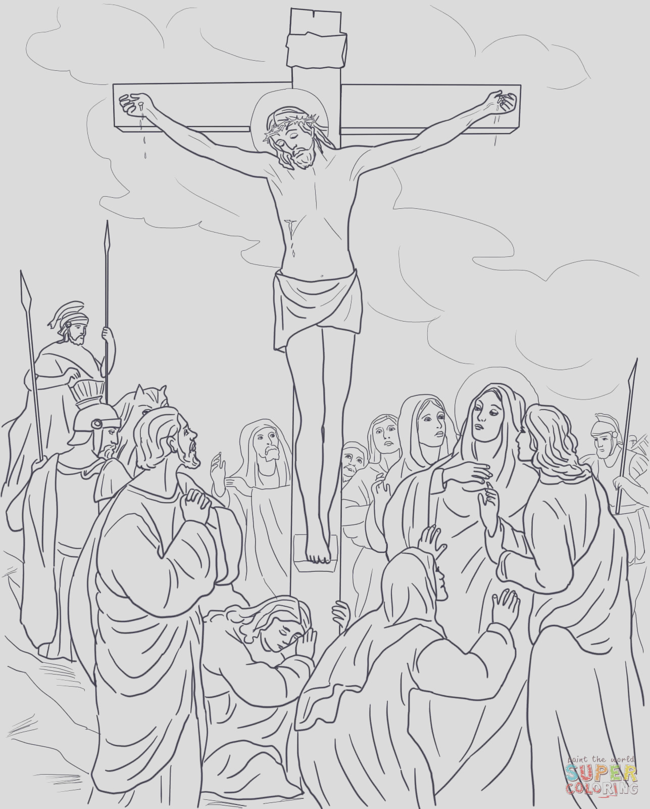jesus d on the cross coloring page sketch templates