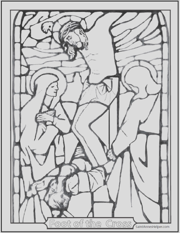 stained glass coloring page jesus crucifixion