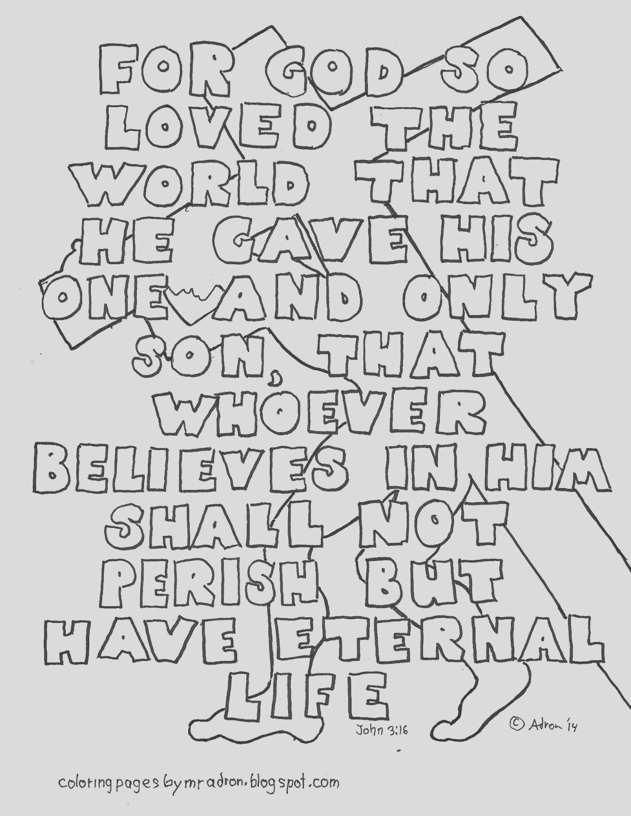 john 316 coloring page with all words