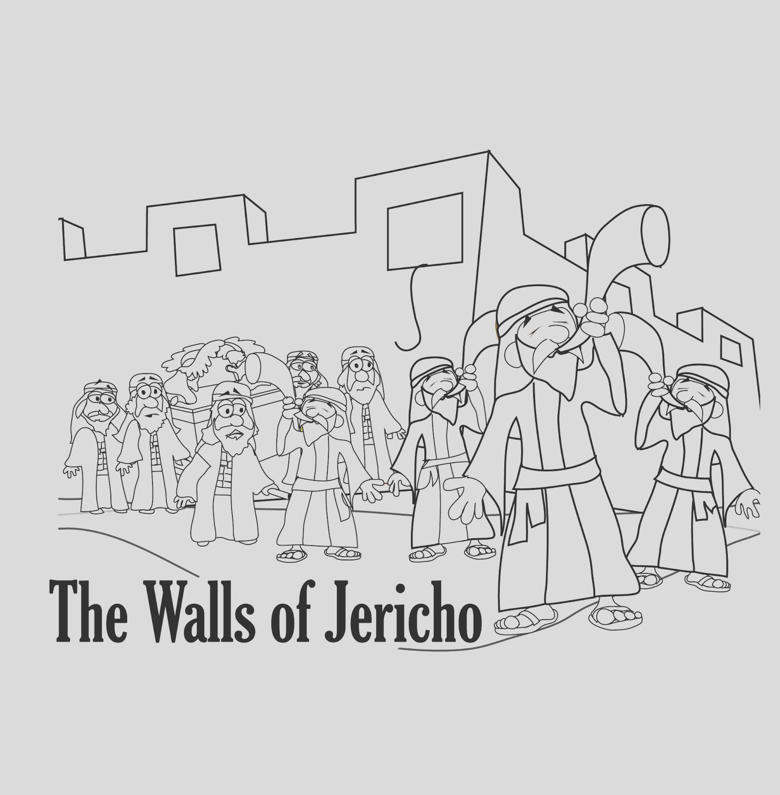 walls of jericho bible story coloring pages